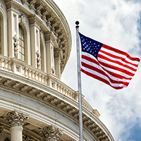 Photo of US Capitol with Flag