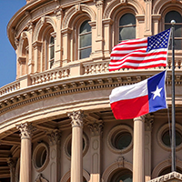 Photo of Texas Capitol with Flags